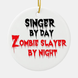Singer Zombie Slayer Double-Sided Ceramic Round Christmas Ornament