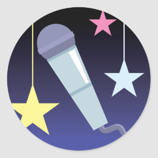 singer's microphone and stars design classic round sticker