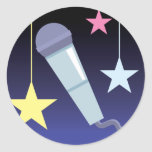 singer's microphone and stars design stickers