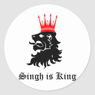 Singh is King Classic Round Sticker