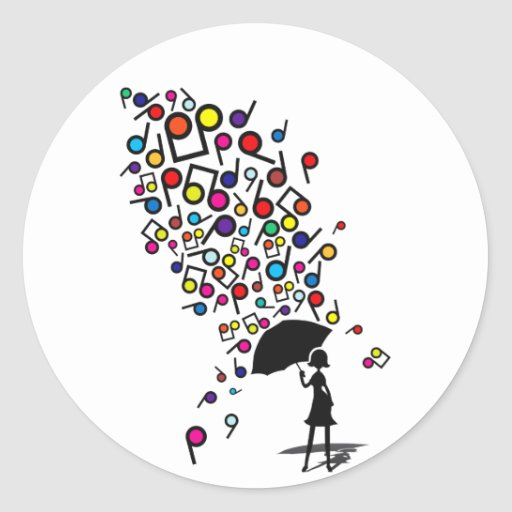 Singin en la lluvia pegatinas redondas