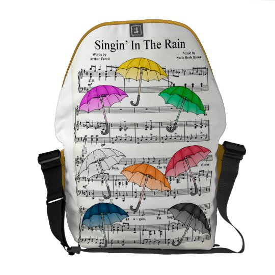 """Singin' In The Rain"" Umbrellas w/Sheet Music Back Messenger Bag"