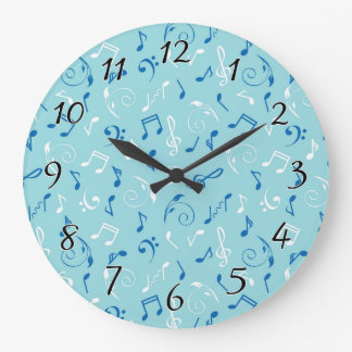 Singin the Blues Musical Pattern Large Clock