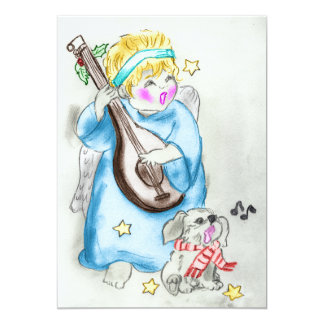 Singing Angel and Pup Christmas Invitation