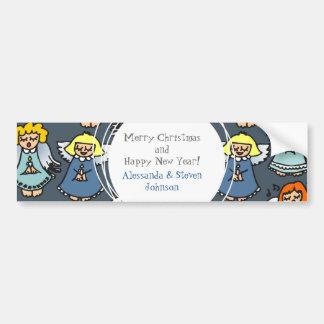 singing angels on blue background bumper sticker