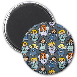singing angels on blue background magnet