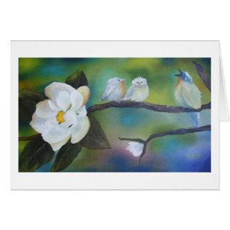 Singing at the Magnolia- Blanck Greeting Card