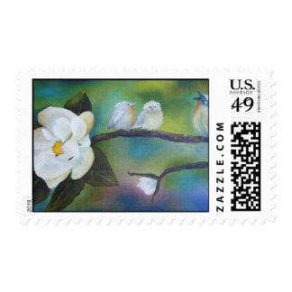 Singing at the Magnolia- Postage Stamp
