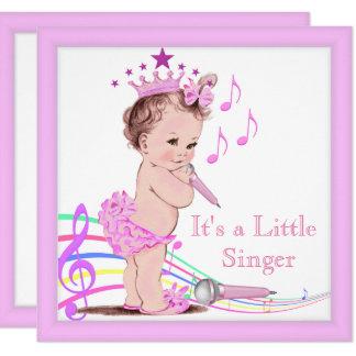 Singing Baby Shower Cute Girl Pink Music Card