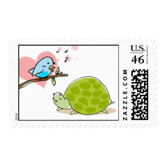 singing bird and cute turtle stamp