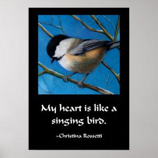 SINGING BIRD CHICKADEE POSTER
