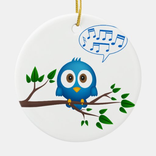 Singing bird Double-Sided ceramic round christmas ornament