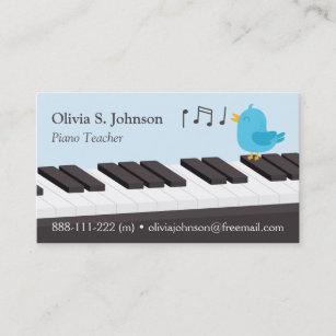 Singing Bird Kids Piano Teacher Business Cards