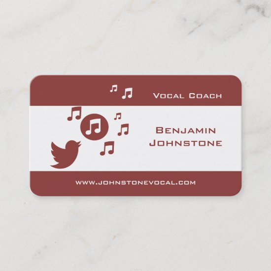 Singing Bird Musical Notes Business Cards