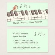 Singing Bird On Keyboard Music Piano Teacher Business Card at Zazzle