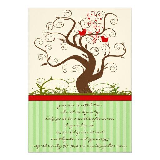 Singing Bird Tree Swirl Christmas Party Invitation