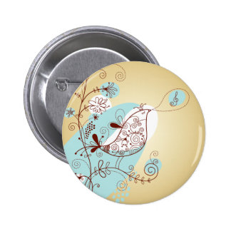 Singing Bird with Floral Pinback Button