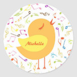 Singing Bird with Musical Notes Custom Stickers