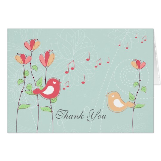 Singing Birds with Flowers Wedding Thank You Card