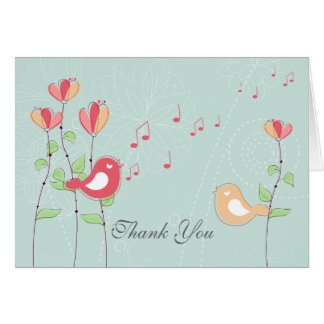 Singing Birds with Flowers Wedding Thank You Stationery Note Card