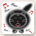 Singing Black Fat Cat Coaster