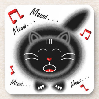 Singing Black Fat Cat Coaster