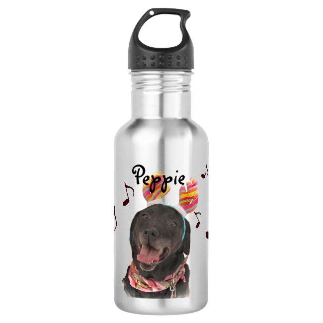Singing Black Labrador Retriever Water Bottle
