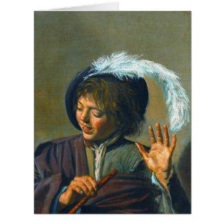Singing Boy 1623 Large Greeting Card
