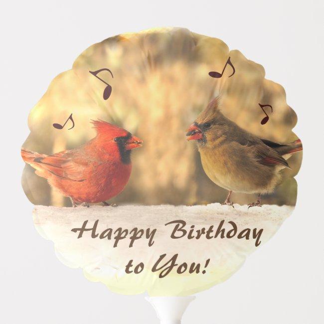 Singing Cardinal Birds Birthday Balloon