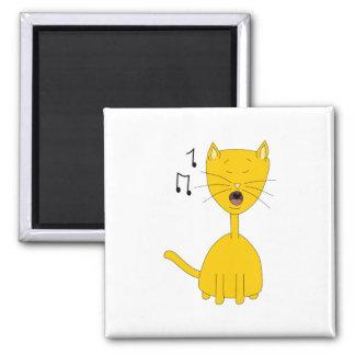 Singing Cat. 2 Inch Square Magnet