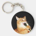 Singing cat basic round button keychain