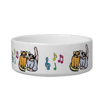 SINGING  CAT BOWL, CATS AT WORK W MUSIC NOTES ARA PET WATER BOWL