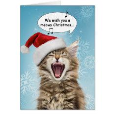 Singing Cat Christmas Card at Zazzle