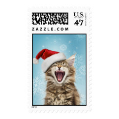 Singing Cat Christmas Postage at Zazzle