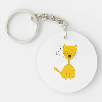 Singing Cat. Double-Sided Round Acrylic Keychain