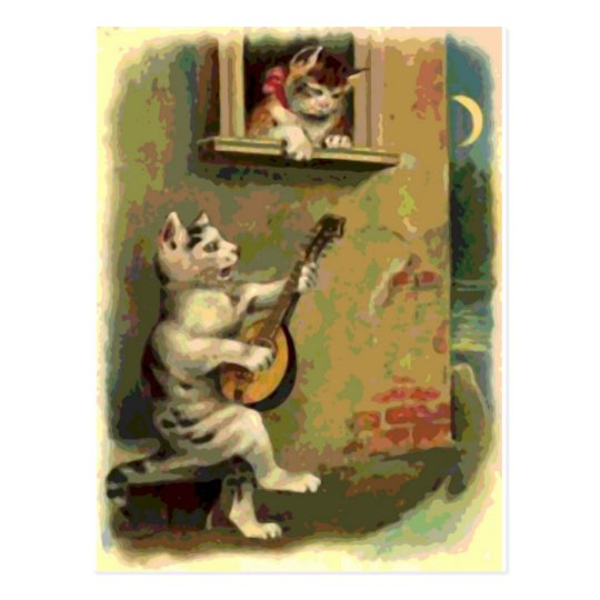 Singing Cat, vintage style Postcard