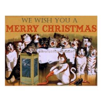 Singing Cats - Vintage Christmas Postcard