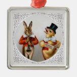 Singing Chicken and Horn-Blowing Bunny Square Metal Christmas Ornament