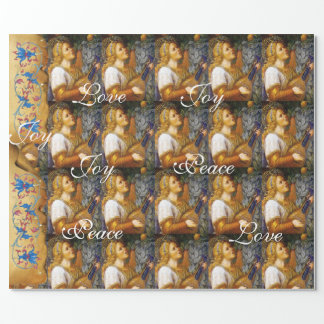 SINGING CHRISTMAS ANGEL ,JOY PEACE LOVE PARCHMENT WRAPPING PAPER