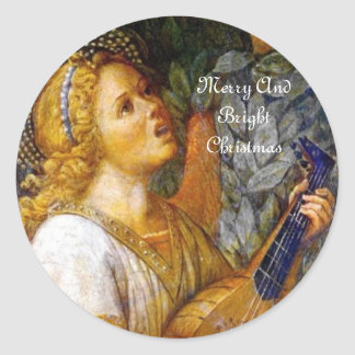 SINGING CHRISTMAS ANGEL MAKING MUSIC CLASSIC ROUND STICKER