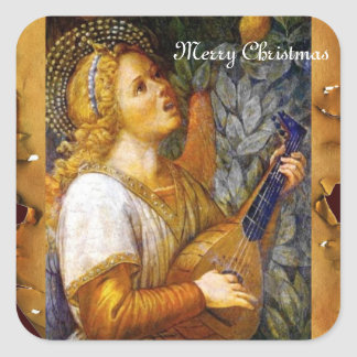 SINGING CHRISTMAS ANGEL MAKING MUSIC OLD PARCHMENT SQUARE STICKER