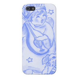 Singing Christmas Angel with Puppy in Bright Blue Cover For iPhone SE/5/5s
