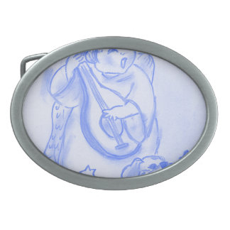 Singing Christmas Angel with Puppy Oval Belt Buckle