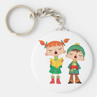 Singing Christmas Carols Basic Round Button Keychain