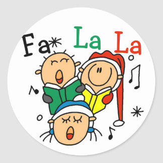 Singing Christmas Carols Tshirts and Gifts Round Stickers