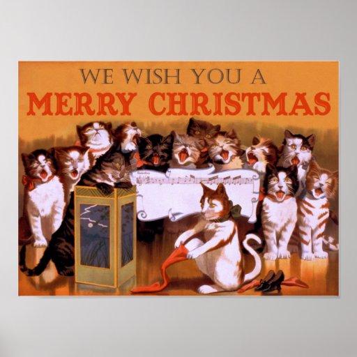 Singing Christmas Cats Print