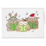 Singing Christmas Owls - Xmas cards