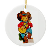 Singing Cowboy Kid Ceramic Ornament