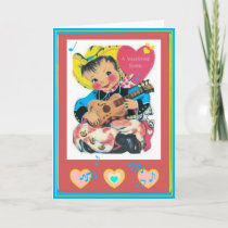 Singing Cowboy Retro Valentine's Day Card