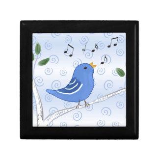 Singing Cute Blue Bird Keepsake Trinket Box